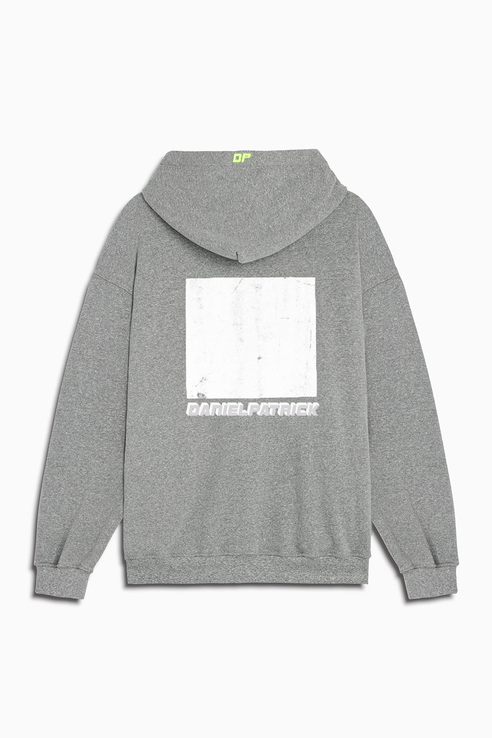 distressed square hoodie in heather grey/white by daniel patrick