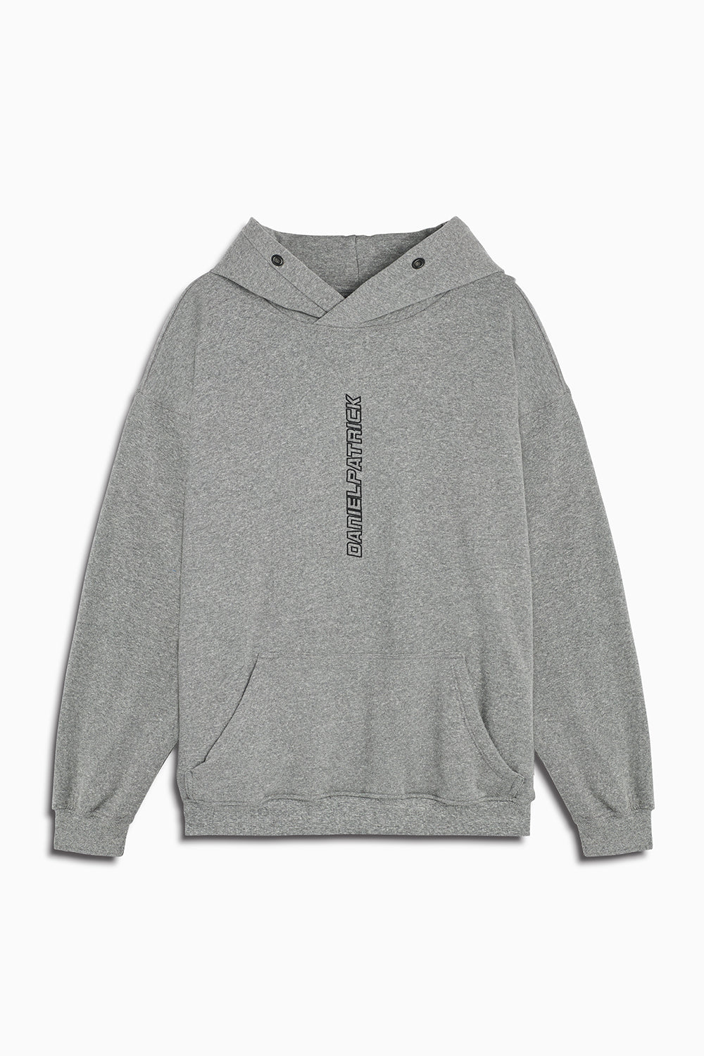 vertical logo hoodie in heather grey/black by daniel patrick