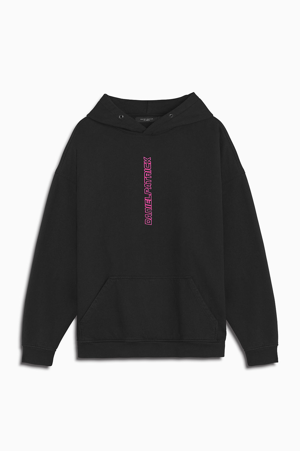 vertical logo hoodie in black/pink by daniel patrick