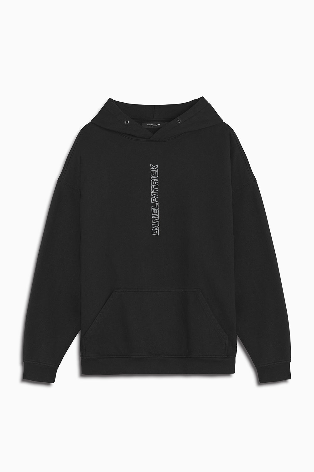vertical logo hoodie in black/smog grey by daniel patrick