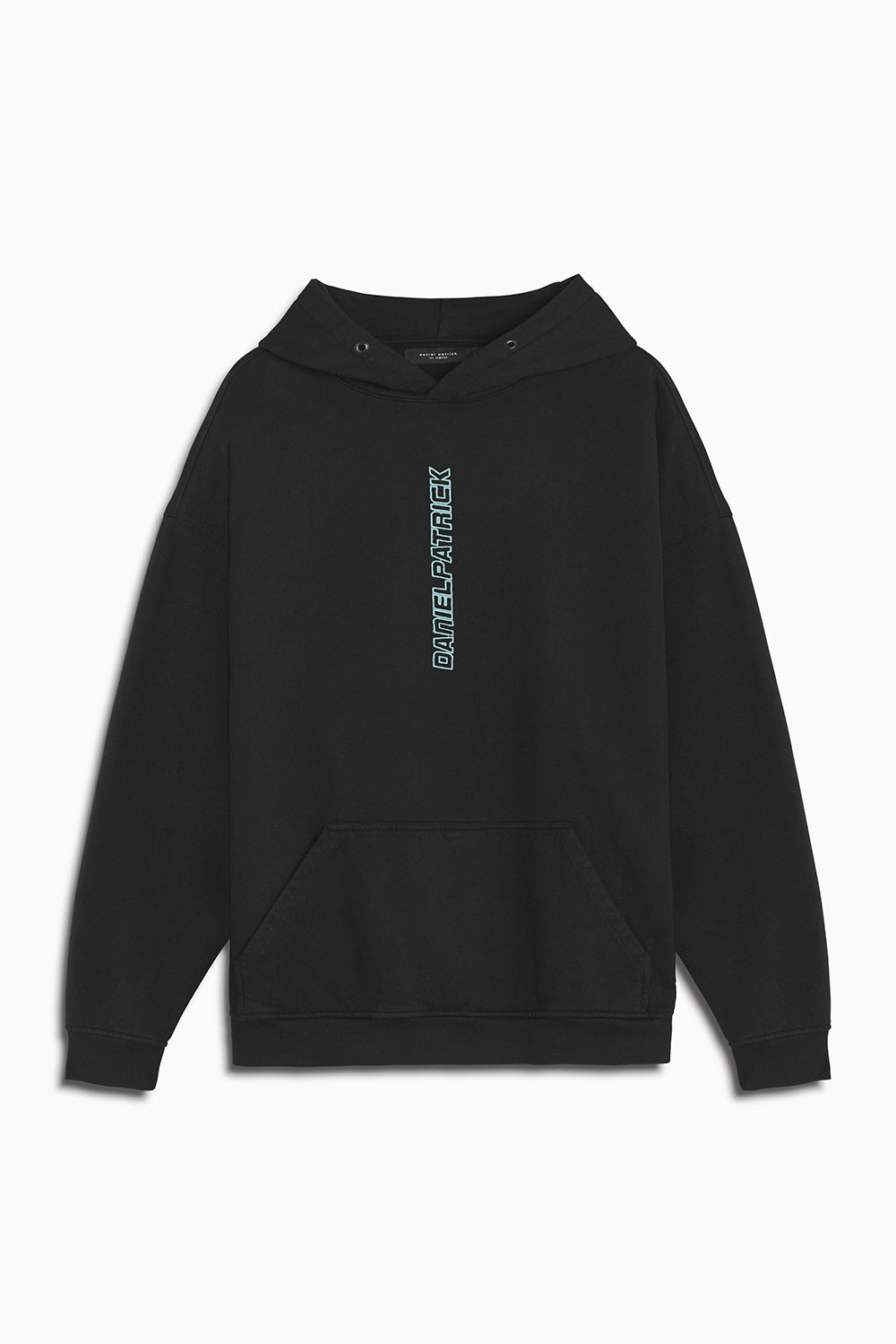 vertical logo hoodie in black/sea foam by daniel patrick