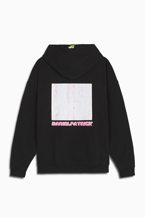 distressed square hoodie in black/wildflower pink by daniel patrick