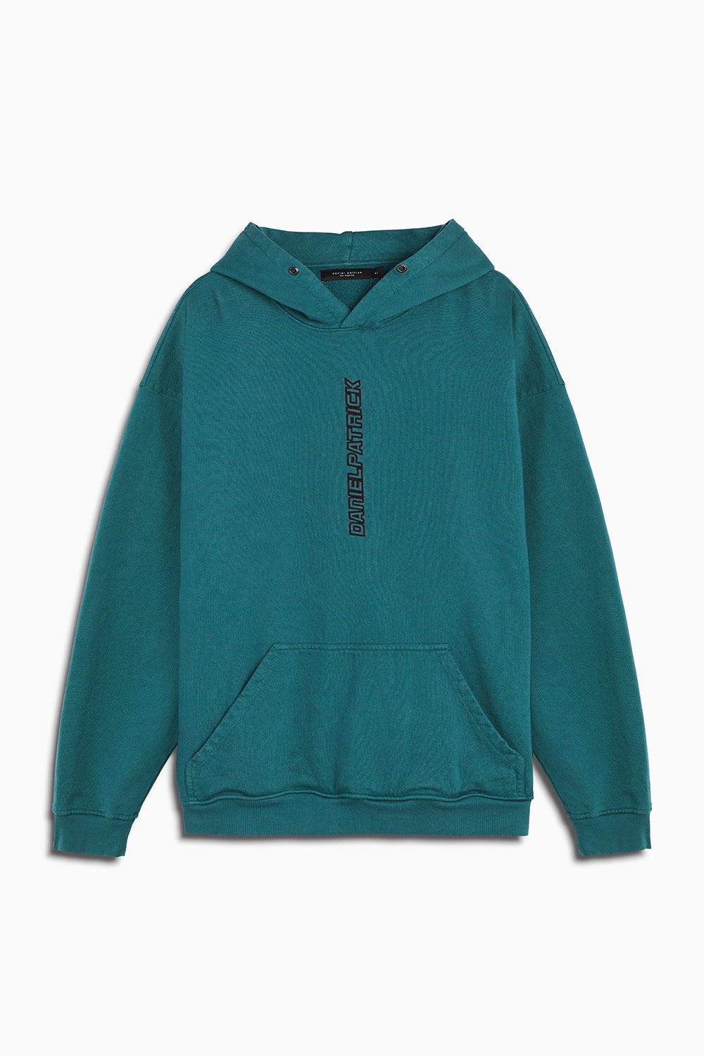 vertical logo hoodie in emerald green/black by daniel patrick