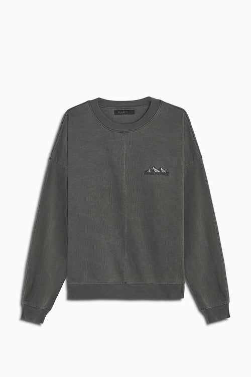 moving mountains crew neck sweater in vintage black by daniel patrick