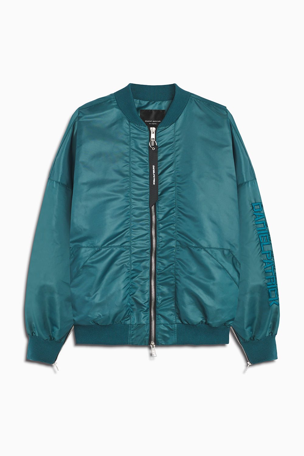 DP embroidered sleeve bomber jacket in emerald green by daniel patrick