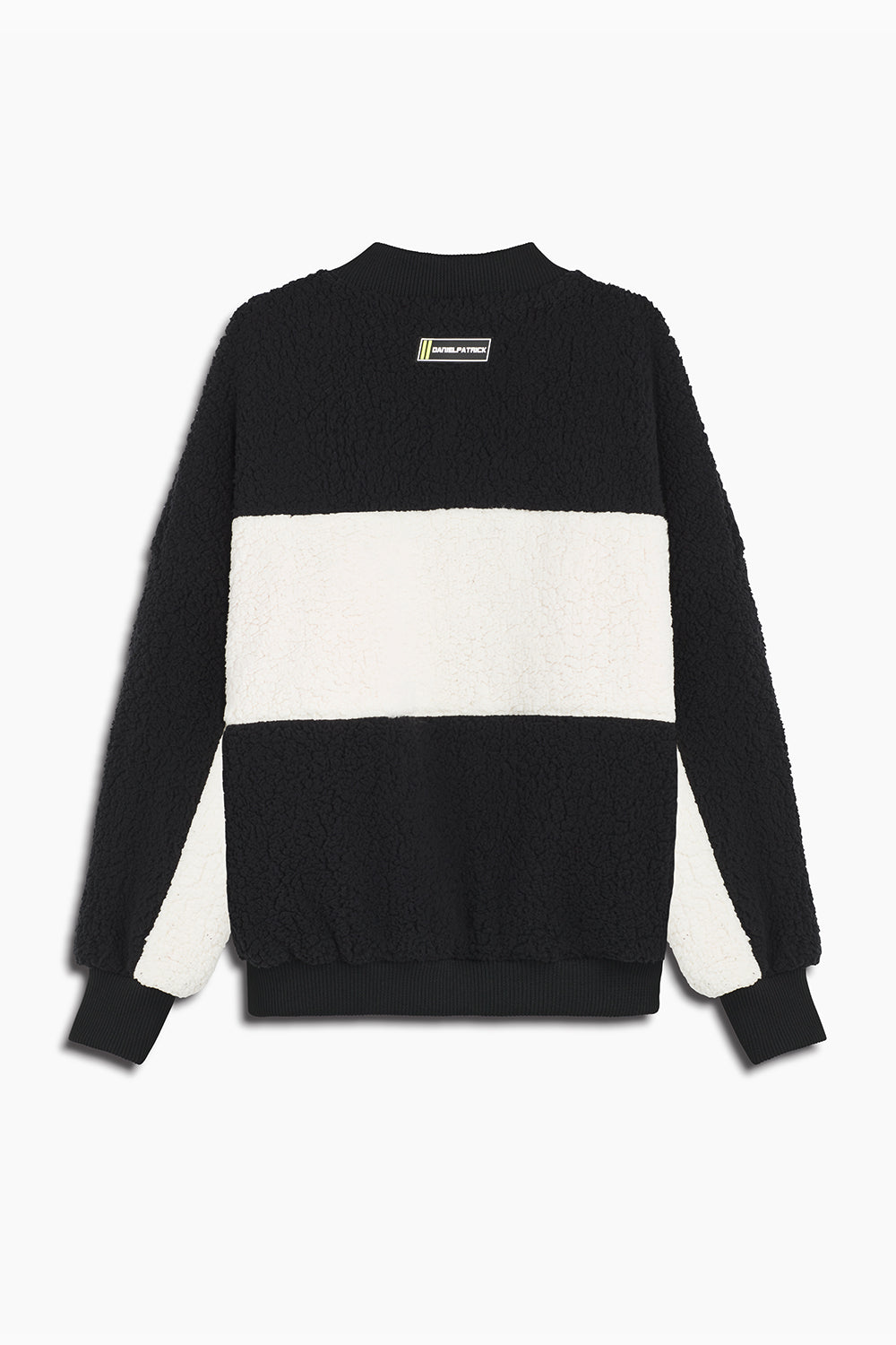 panel sherpa bomber jacket in black/ivory by daniel patrick