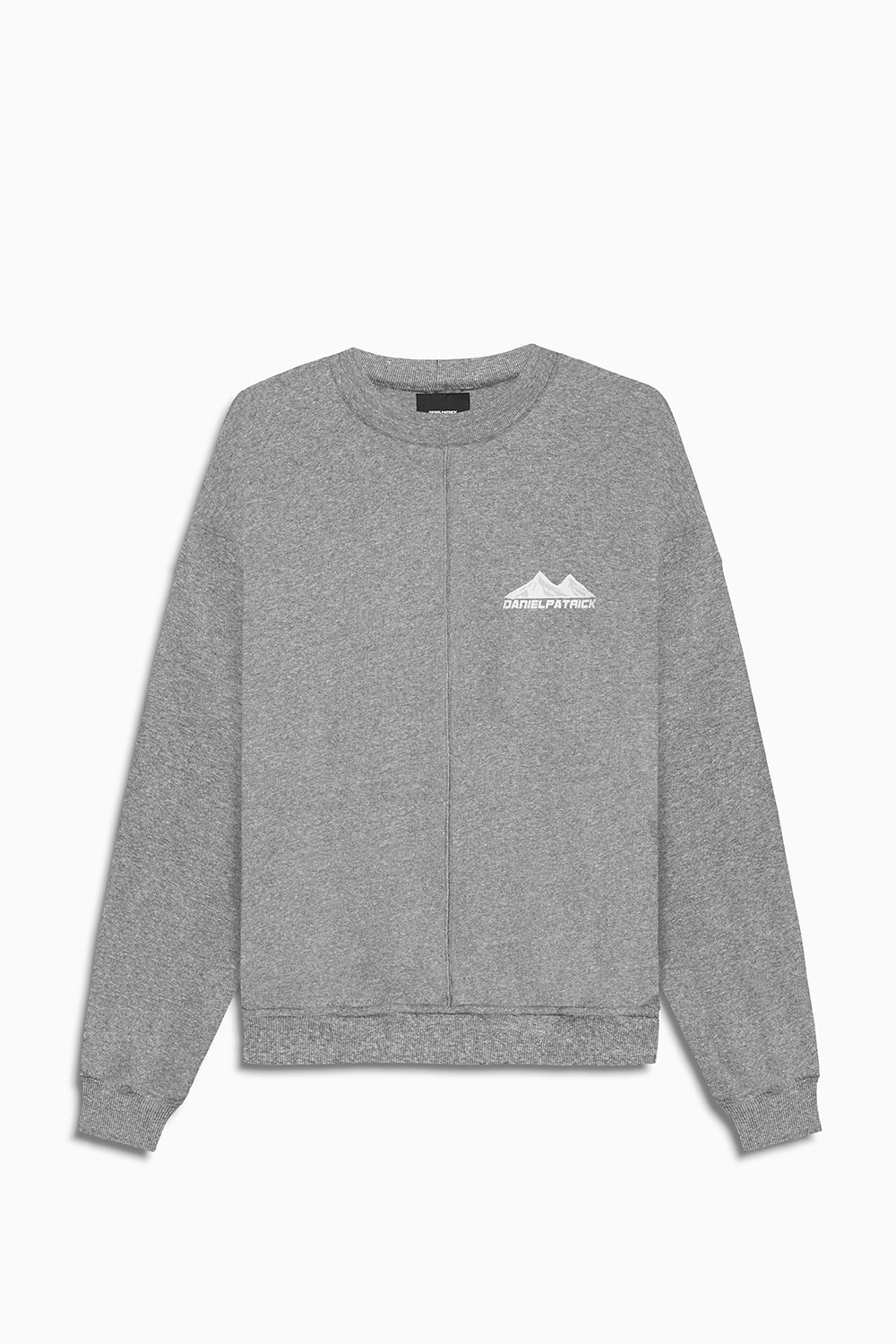 moving mountains crew neck sweat in heather grey by daniel patrick