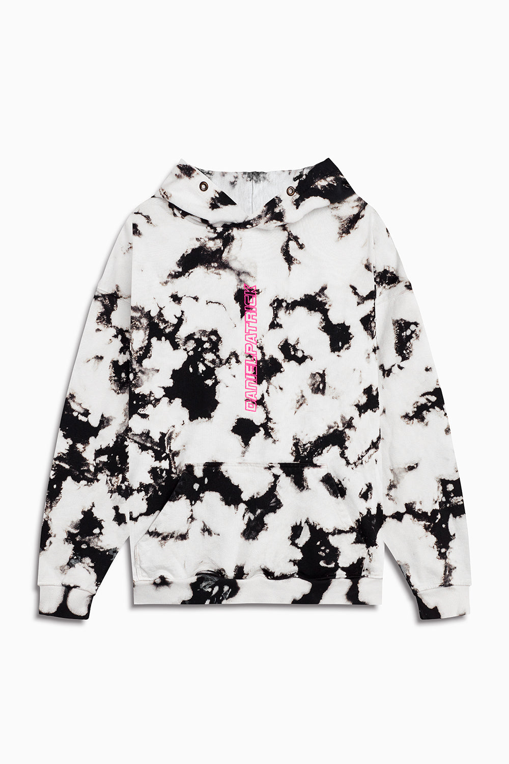 vertical logo hoodie in white acid/pink by daniel patrick