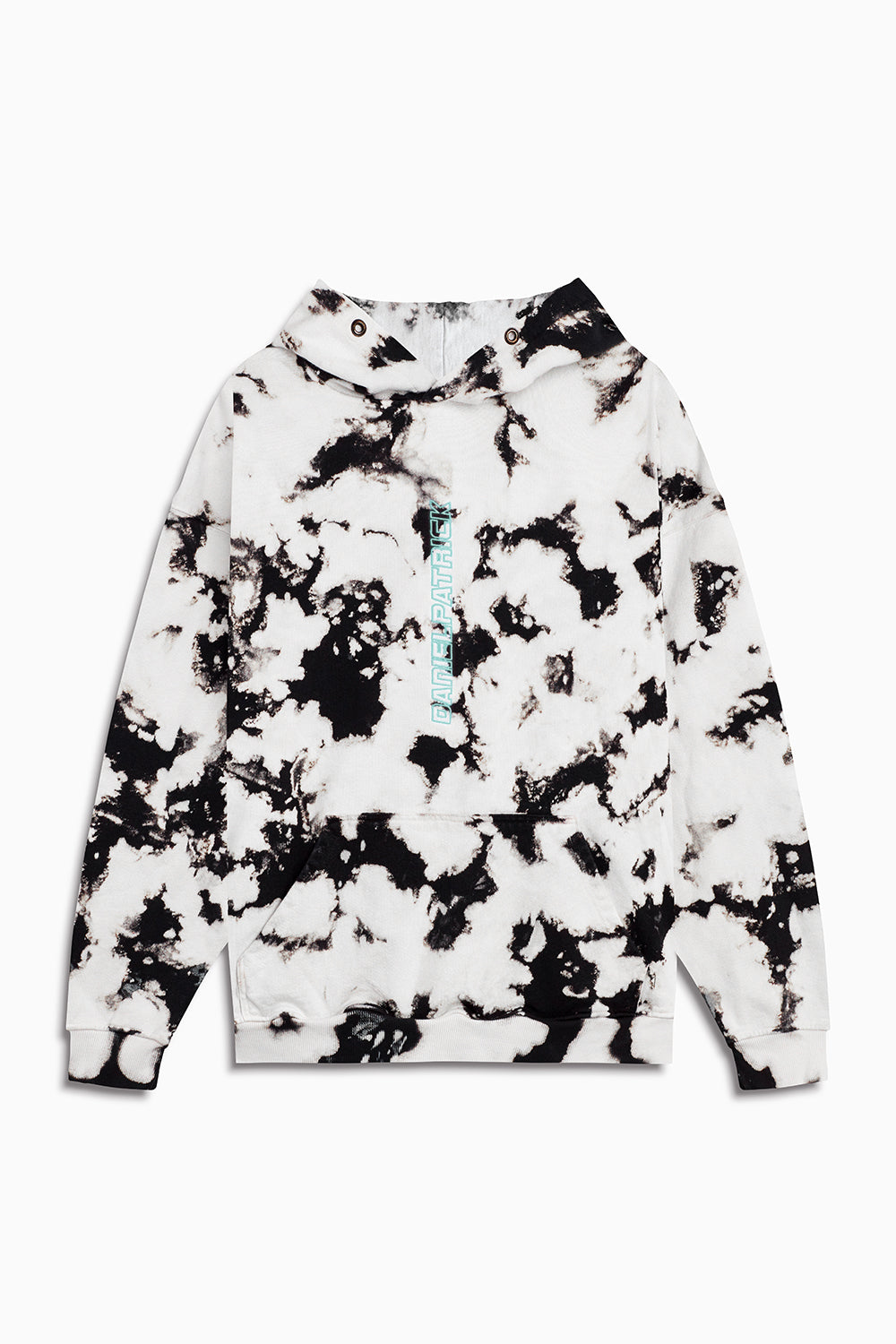 vertical logo hoodie in white acid/sea foam by daniel patrick