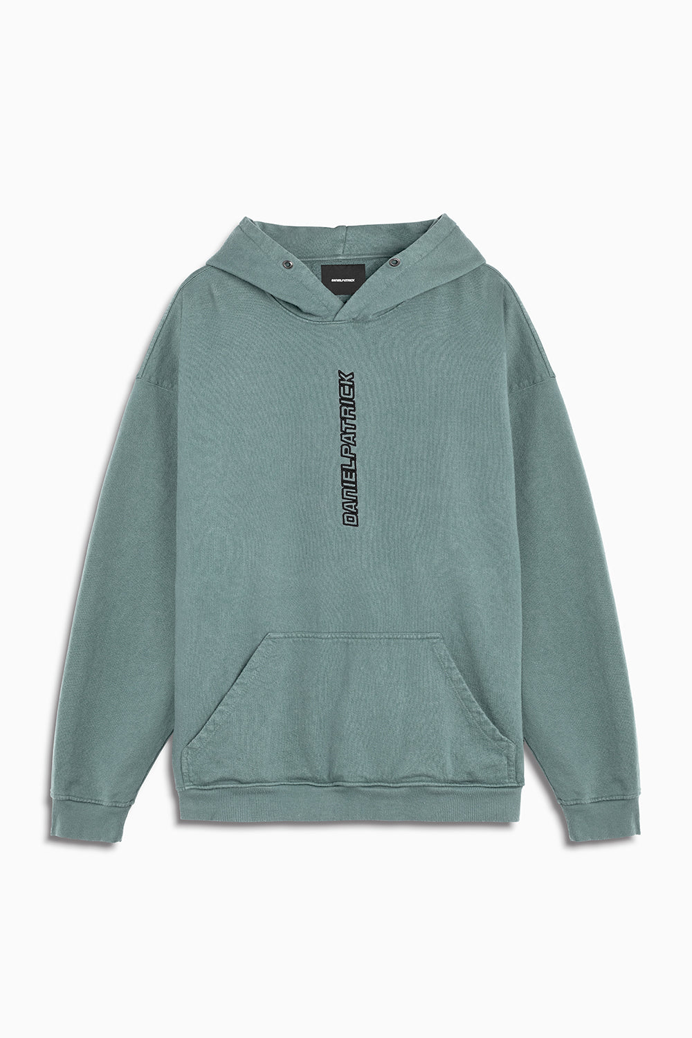 vertical logo hoodie in sea foam/black by daniel patrick