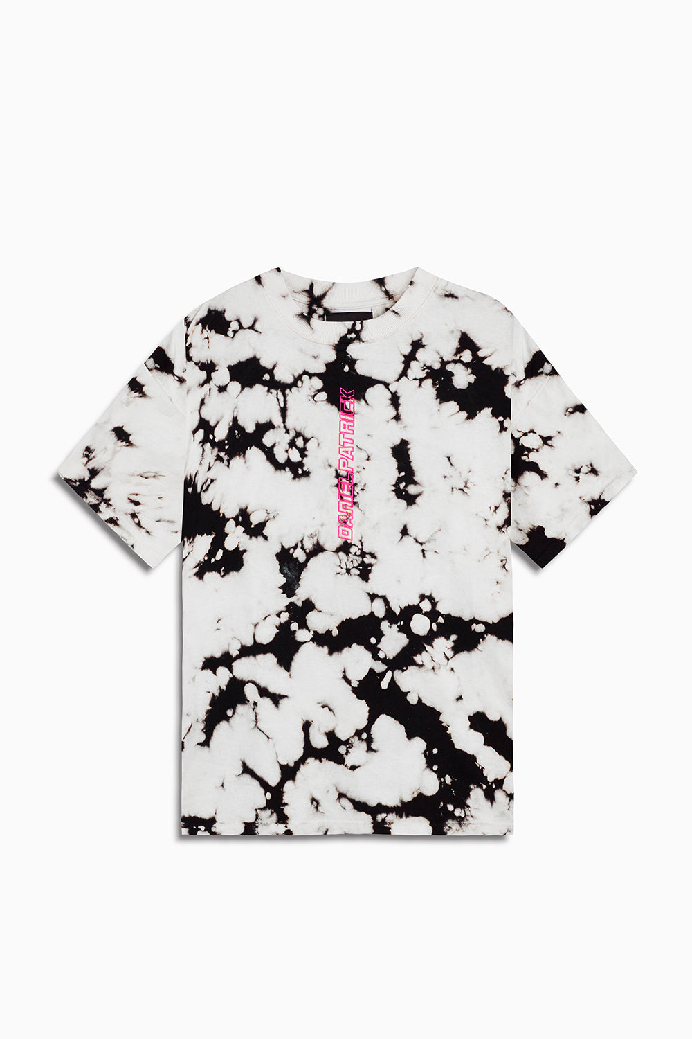 vertical logo tee in white acid/pink by daniel patrick