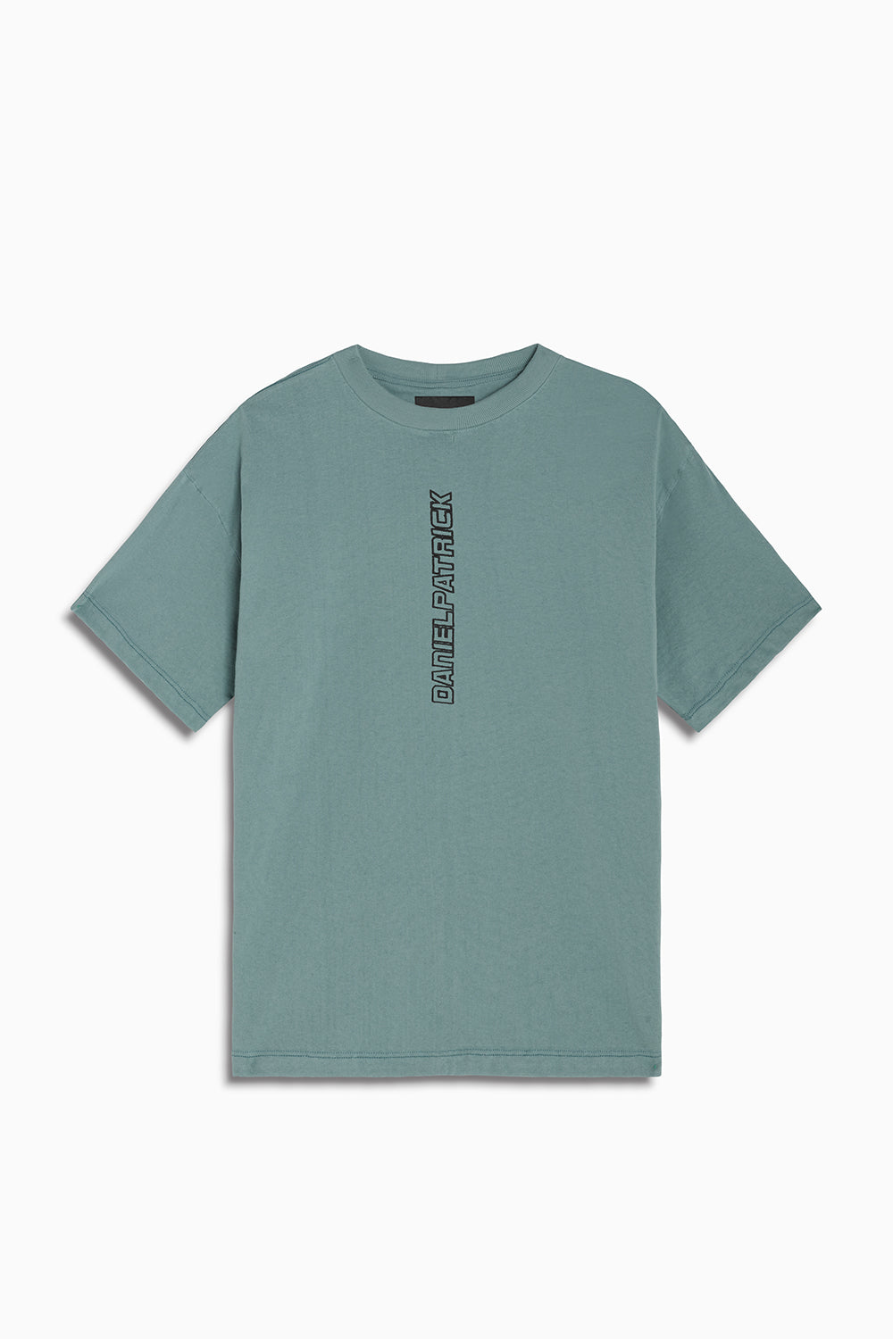 vertical logo tee in sea foam/black by daniel patrick