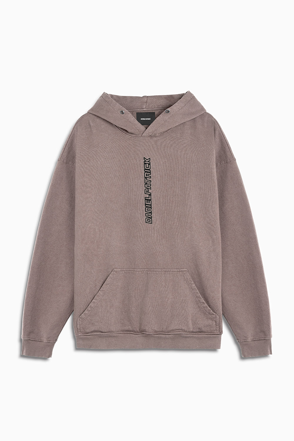 vertical logo hoodie in dust/black by daniel patrick