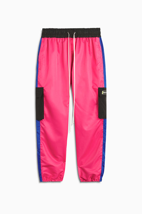 cargo parachute track pant / wildflower pink + cobalt + black