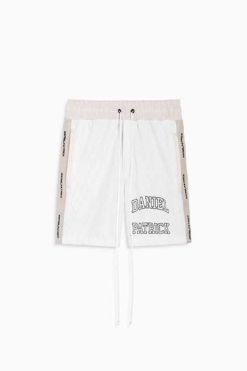 varsity gym short / white