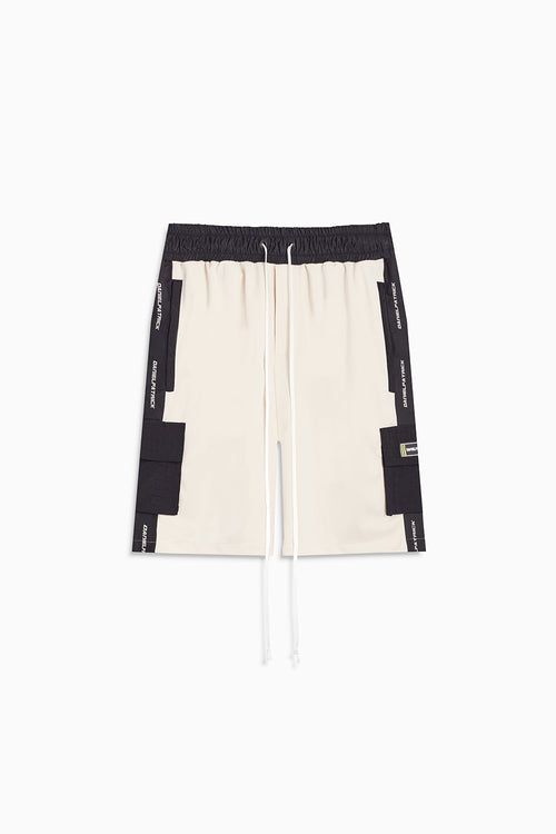 cargo gym short / ivory + black