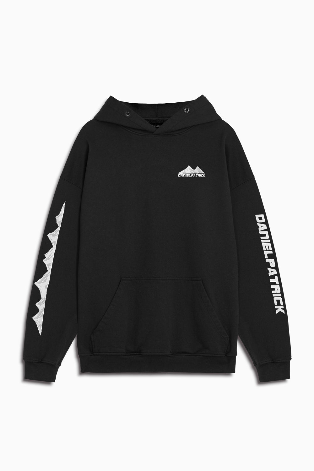 moving mountains hoodie in black by daniel patrick