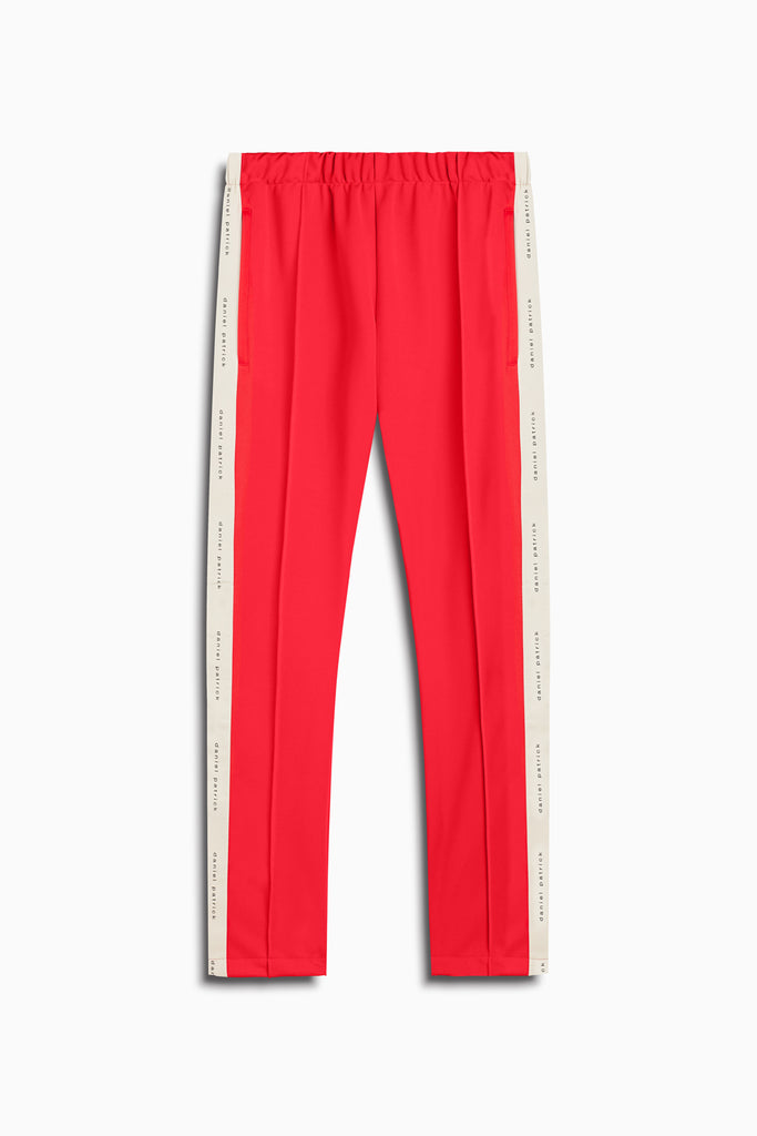 heroine track pant in red/ivory by daniel patrick
