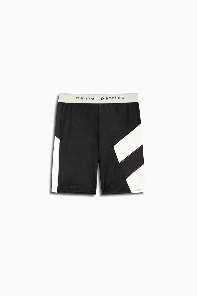 womens la bike shorts in black/ivory by daniel patrick