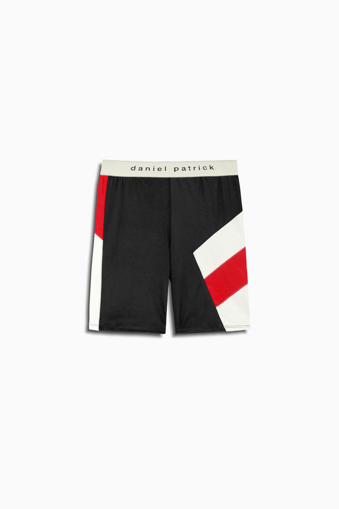 womens la bike shorts in black/red/ivory by daniel patrick