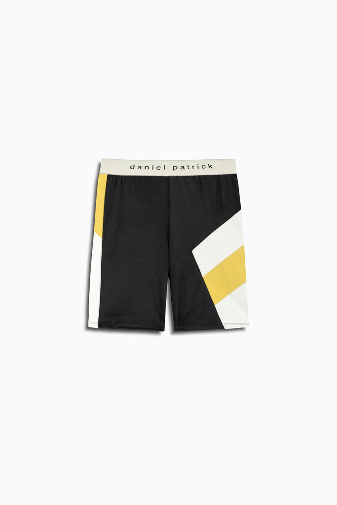 womens la bike shorts in black/yellow/ivory by daniel patrick