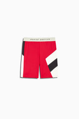 womens la bike shorts in red/black/ivory by daniel patrick