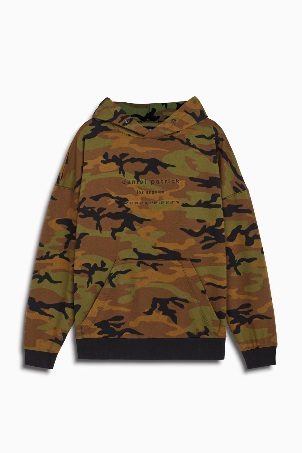 LA hoodie in camo/black by daniel patrick