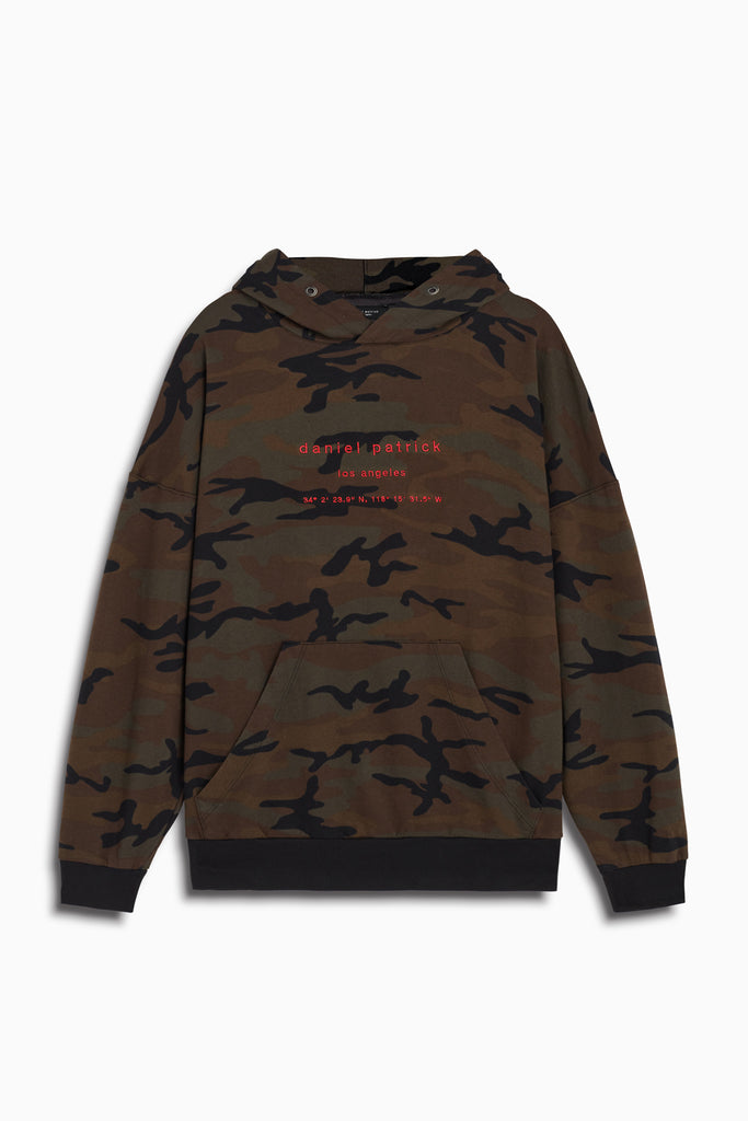 LA hoodie in dark camo/red by daniel patrick