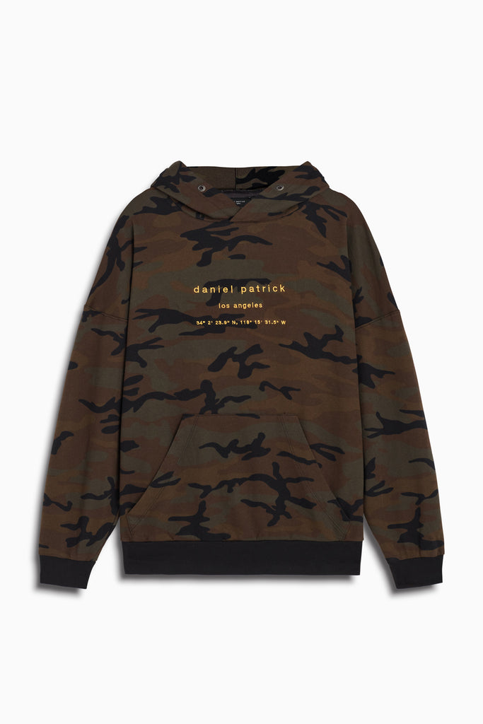 LA hoodie in dark camo/yellow by daniel patrick