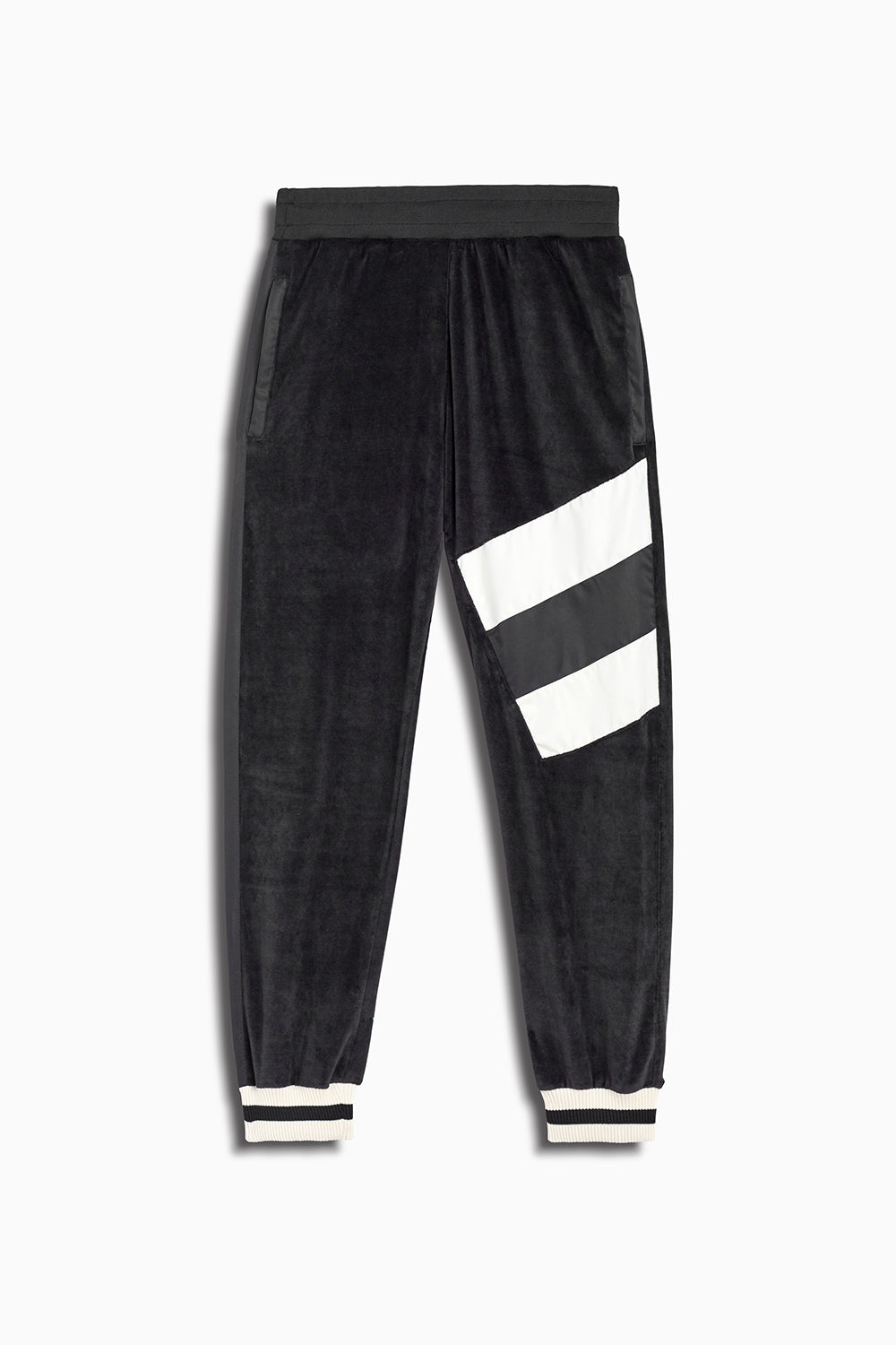 LA track pant velour in black/ivory by daniel patrick