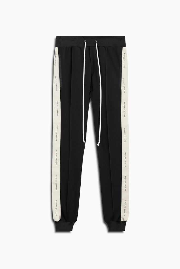 slim track pant in black/ivory by daniel patrick