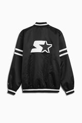 dp satin starter jacket / black + white