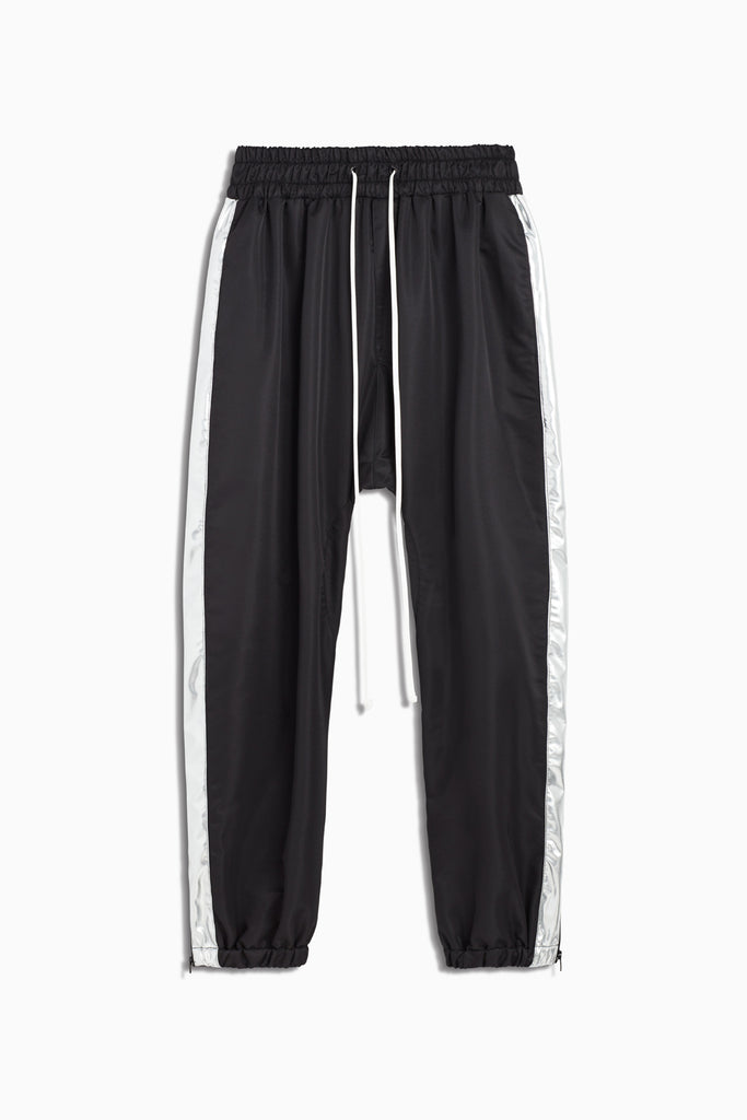 parachute track pant in black/silver by daniel patrick