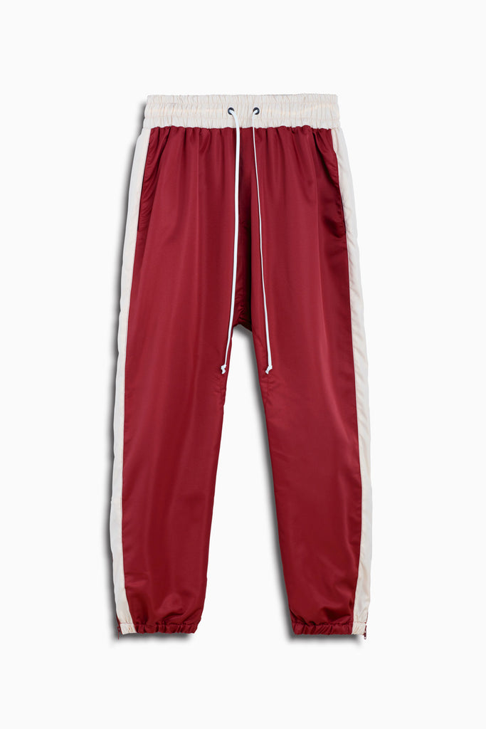 parachute track pant in maroon/pink by daniel patrick
