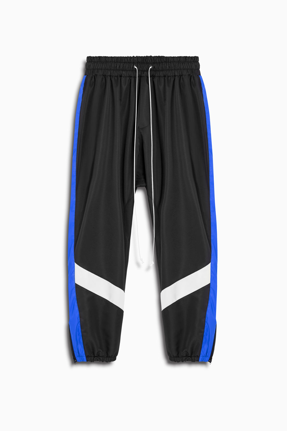 parachute track pant ii in black/cobalt/ivory by daniel patrick