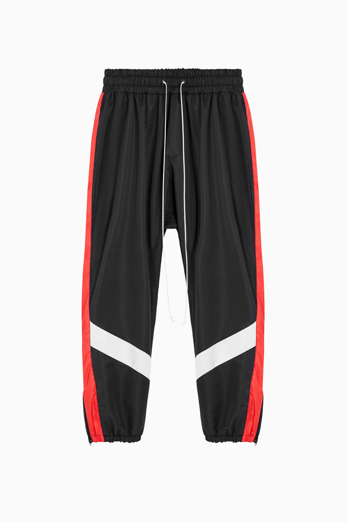 parachute track pant ii in black/red/ivory by daniel patrick
