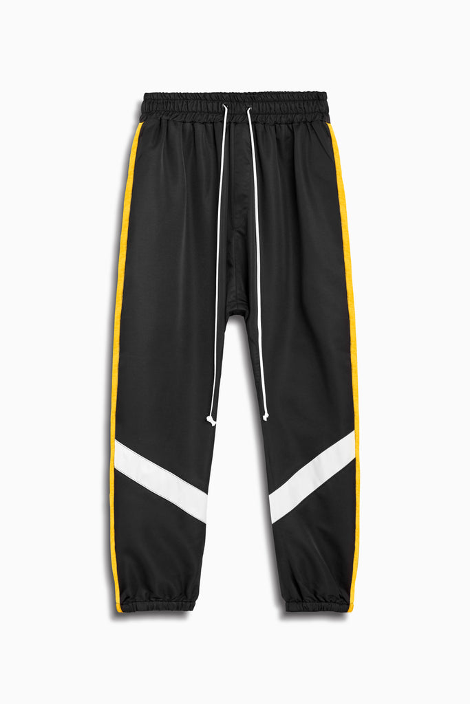 parachute track pant ii in black/yellow/ivory by daniel patrick