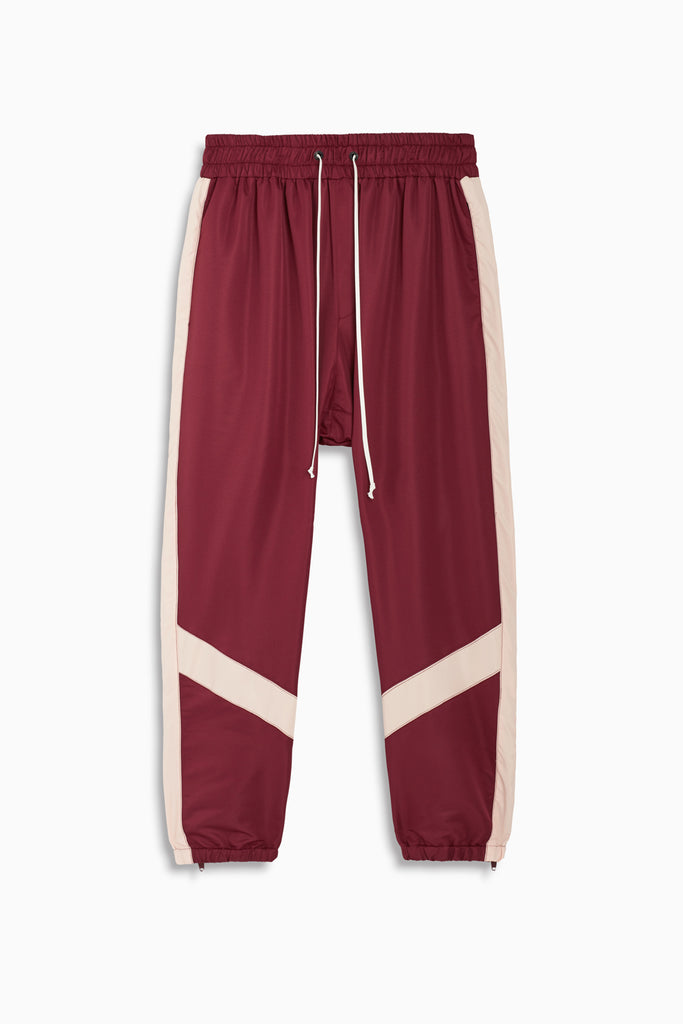 parachute track pant ii in maroon/pink by daniel patrick
