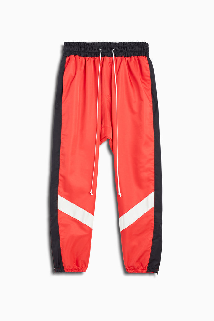 parachute track pant ii in red/black/ivory by daniel patrick
