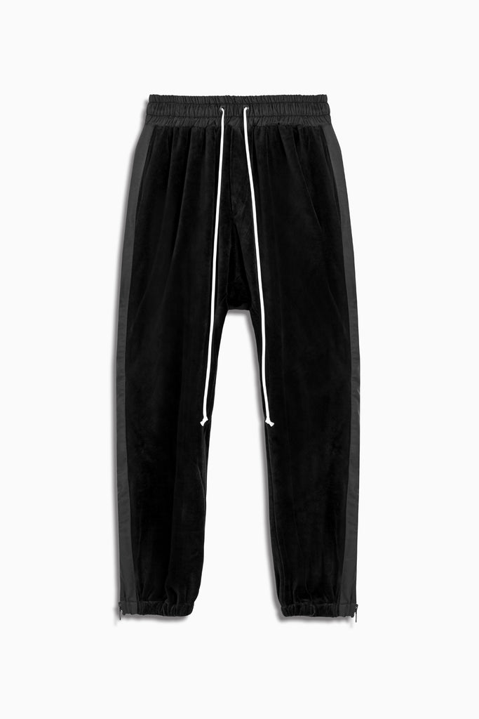 parachute track pant velour in black by daniel patrick