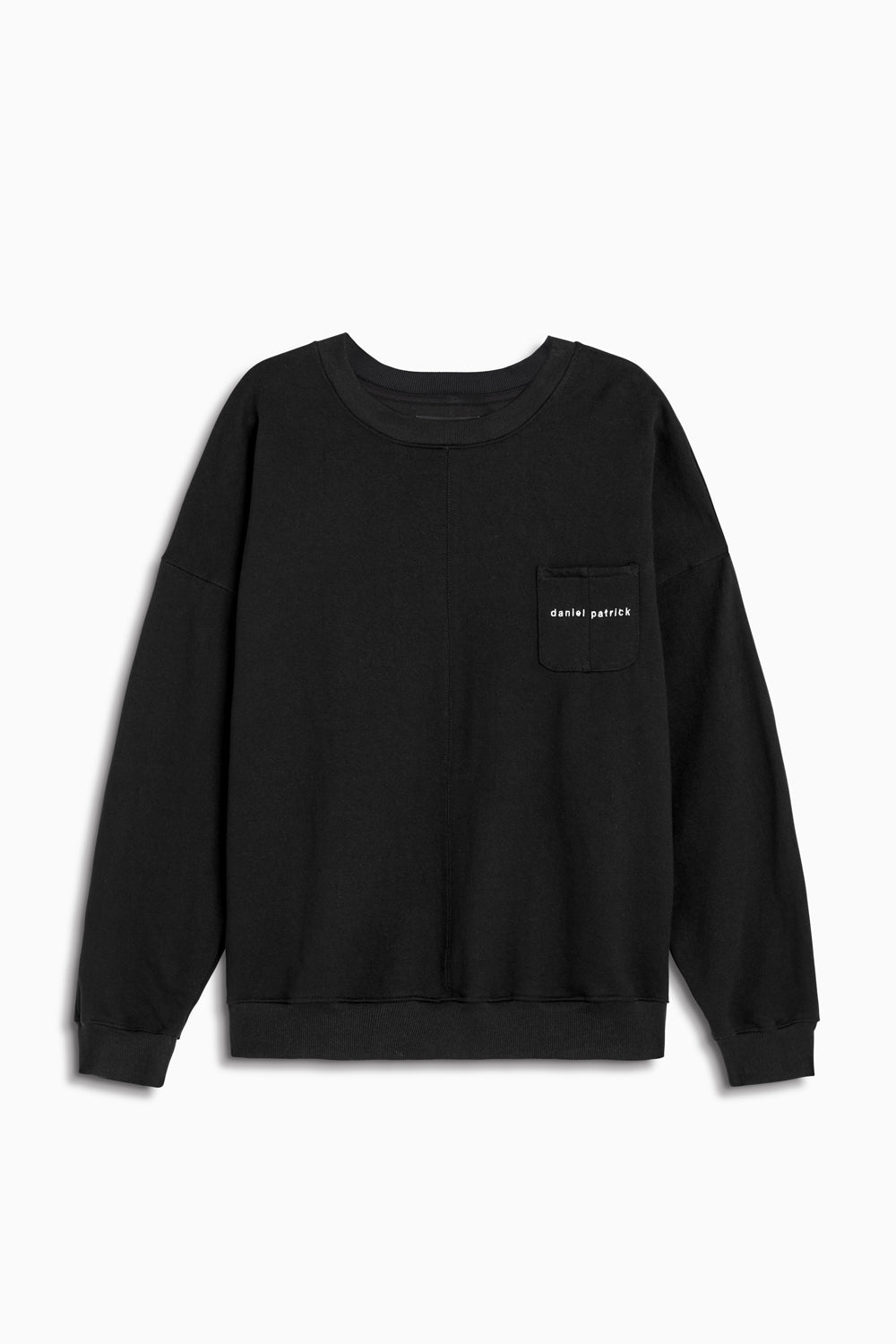 pocket crew sweat in black/natural by daniel patrick