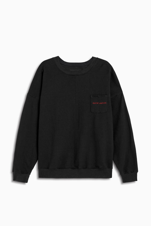 pocket crew sweat in black/red by daniel patrick