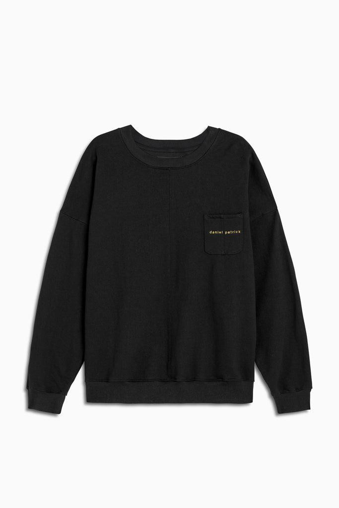 pocket crew sweat in black/yellow by daniel patrick