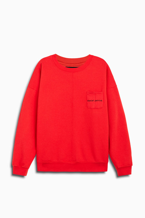 pocket crew sweat in red/black by daniel patrick