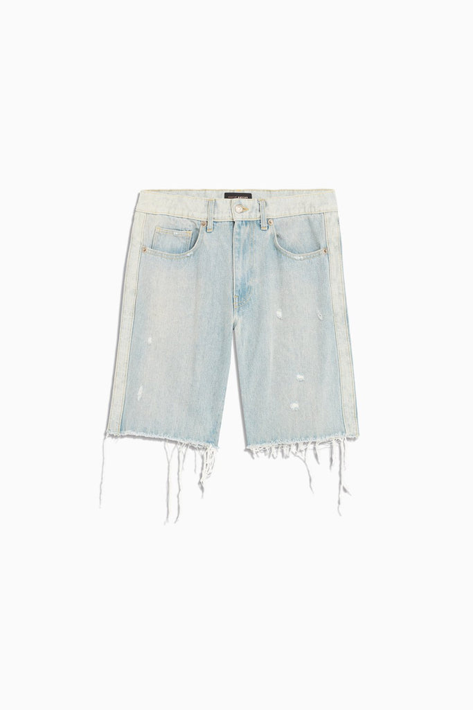 reverse panel denim short in blue desert by daniel patrick