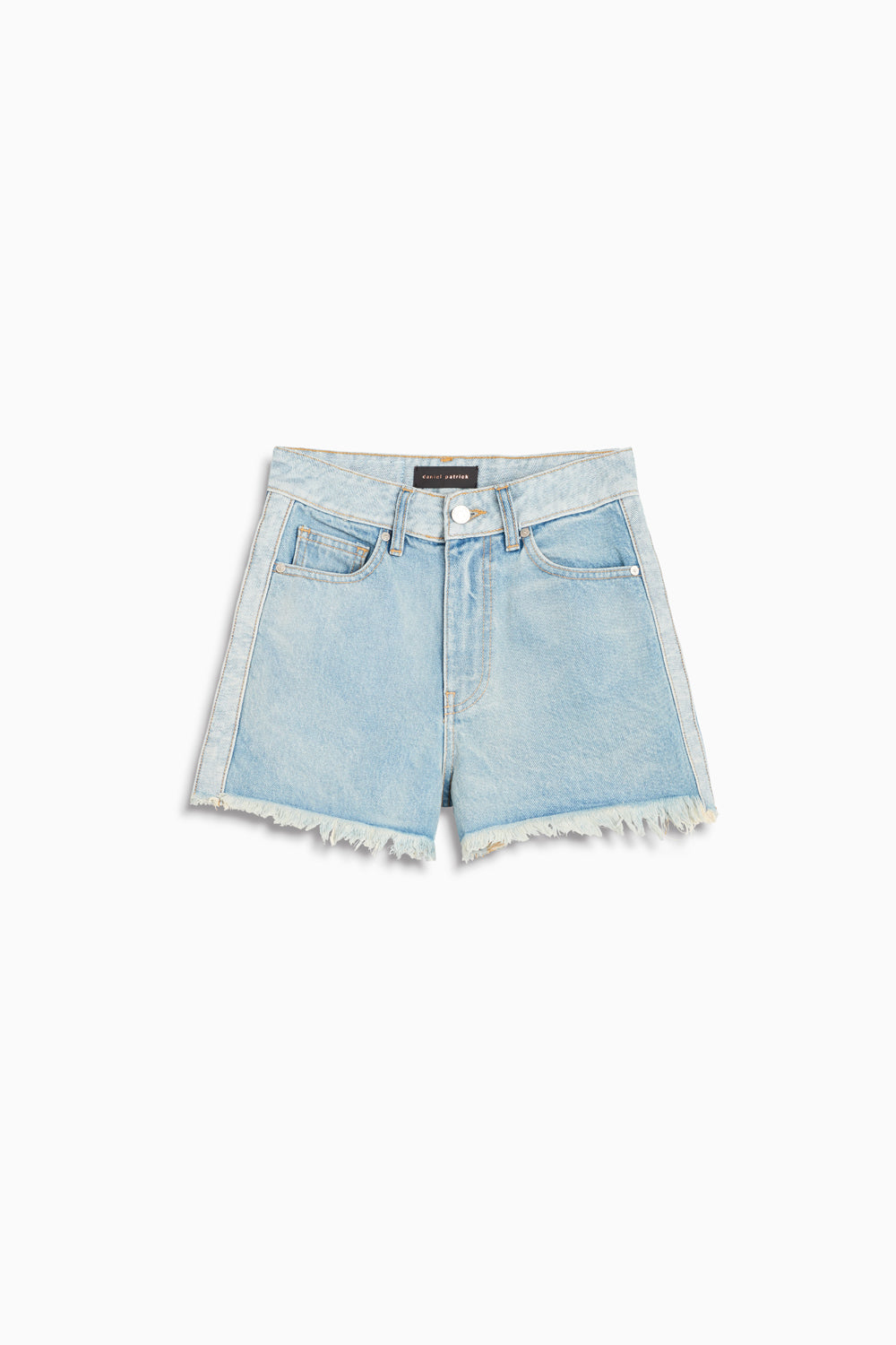 womens reverse panel high waisted denim shorts in blue wash by daniel patrick