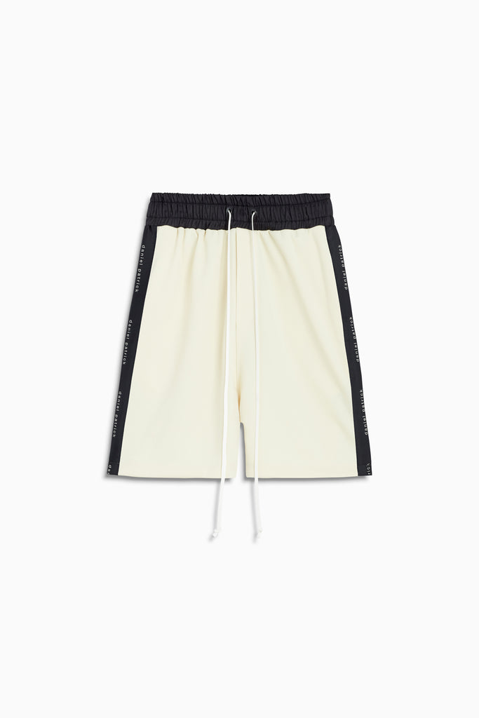 roaming gym short in ivory/black by daniel patrick