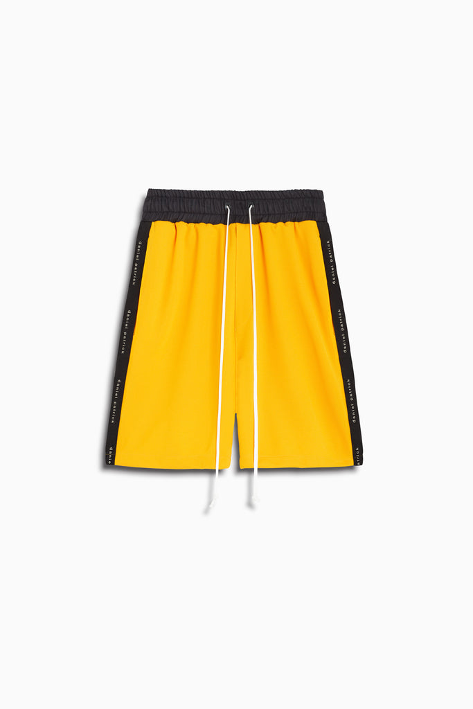roaming gym short in yellow/black by daniel patrick