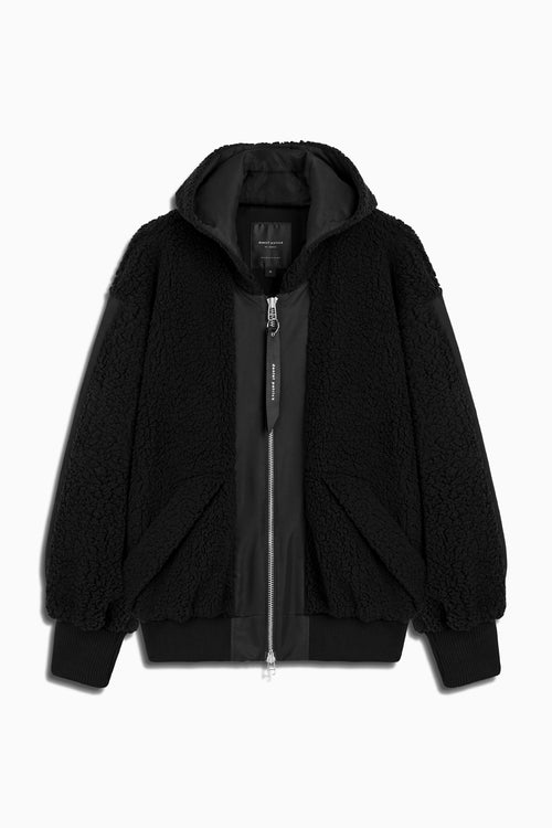 sherpa hood bomber jacket in black by daniel patrick