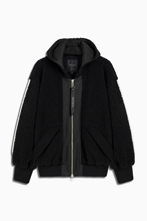 sherpa hood bomber jacket in black/ivory by daniel patrick
